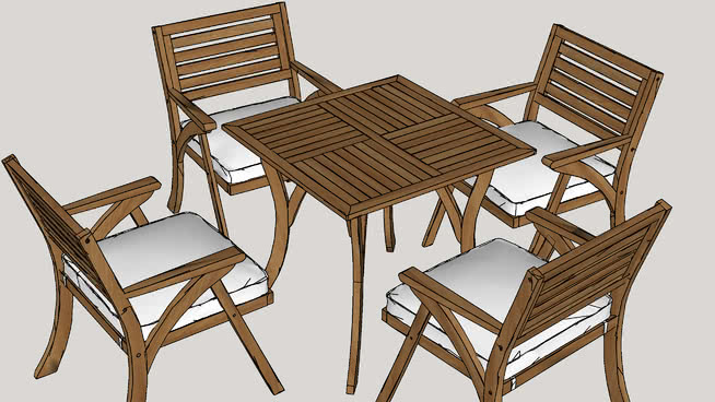 ajax 5 piece dining set with cushion - Garden Furniture 3d Model